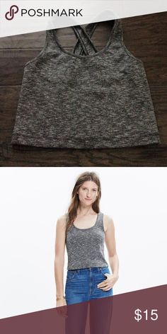 Madewell Cross Back Crop Top Fitted. Polyester/Cotton/Viscose. Grey. Medium. Never worn. Madewell Tops Crop Tops