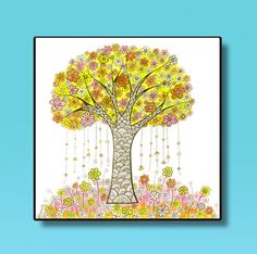 Yellow Tree drawing Girls Room Decor Art for Kids by DHANAdesign