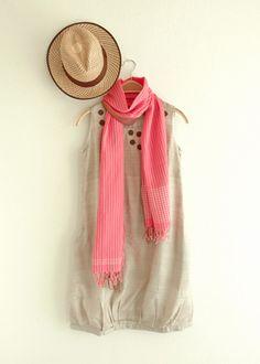 手織りストライプ・サリーショール・ピンク
