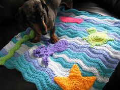 """Crochet blanket """"Under the Sea"""" by nutmegknitter, via Flickr If I had a baby I would so need this."""
