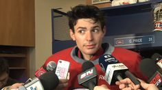 Carey Price, Montreal Canadiens (The politest face to make to some of these reporters. Hockey Baby, Hockey Goalie, Hockey Players, Ice Hockey, Montreal Canadiens, Hockey Rules, Carolina Hurricanes, World Of Sports, Pittsburgh Penguins