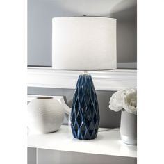 Contemporary Table Lamps, Contemporary Design, Stainless Steel Pipe, Drum Table, Lamp Shade Store, Ceramic Table Lamps, Light Bulb Types, Drum Shade, Home Decor Outlet