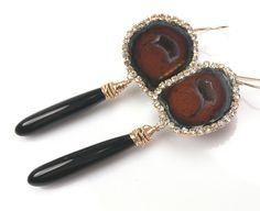 Tabasco Geode Earrings Gemstone Slice Diamond Look Bezel Black Onyx Dangle Earrings - Lara on Etsy, $245.00