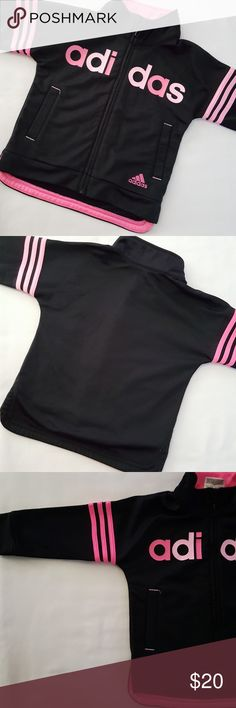 Adidas ||  Girls Track Jacket Black with pink lettering. 100% polyester.  Worn and washed once. adidas Jackets & Coats