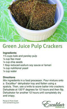 Juice Pulp Recipe #3 - Green Juice Pulp Crackers with Excalibur Dehydrators!