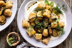 Cauliflower Gnocchi with Crispy Zucchini and Whipped Goat Cheese.when you're in need of an easy, colorful, and fresh dinner…make this gnocchi! Gnocchi Recipes, Pasta Recipes, Whipped Goat Cheese, Pesto Spinach, Clean Eating, Healthy Eating, Half Baked Harvest, Cauliflower Recipes, Entrees
