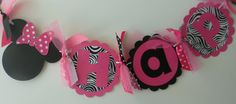 Minnie Mouse Birthday Banner  In Hot Pink by PocketFullofGlitter, $25.00
