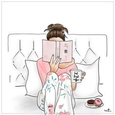 Its going to be a lazy day . . #sunday #morning #lazy #reading #books #readinginbed #coffee #doughnut #bedroom #illustration #fashion #style #girly #pink #inspiration #styled #fashionillustration #wacom #ink #watercolor #digital #art #artwork #illustrationoftheday #creativity #graphic #work