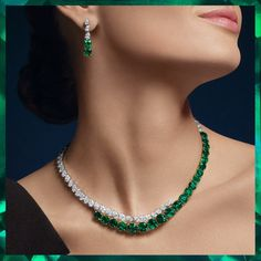 Sparkling diamonds and vibrant emeralds seemingly float on the wearer in these signature designs that are at once contemporary and classic. Stylish Jewelry, High Jewelry, Luxury Jewelry, Modern Jewelry, Fashion Jewelry, Boho Jewelry, Jewellery, Diamond Cross Necklaces, Ruby And Diamond Necklace