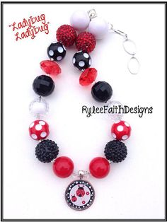 Child size chunky beaded necklace Ladybug by RyleeFaithDesigns