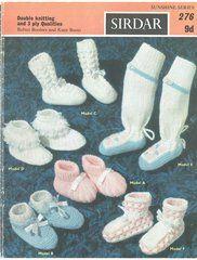 Sirdar Sunshine  276 baby bootees vintage knitting pattern ORIGINAL