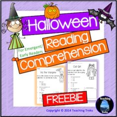 Halloween Reading Comprehension Freebie has two simple Halloween themed reading passages, suitable for beginning readers. This freebie is part of my Halloween Reading Comprehension Pack, a set of 22 reading passages for emergent and early readers, available here:Halloween Reading ComprehensionYou may also like: Fall Reading ComprehensionFall for Kinder KidsHalloween for Kinder KidsSight Words Search the BugsBack to SchoolSummer for Kinder KidsThe Ocean for Kinder KidsAustralia for Kinder ...