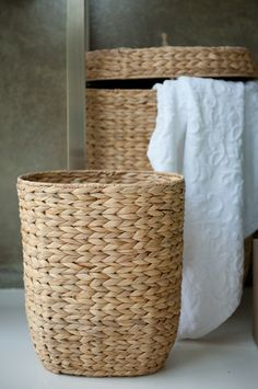 These handcrafted baskets are perfect for organization and storage. Made from water hyacinth, a fast-growing sustainable material.