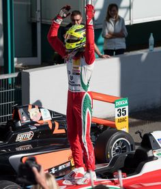 Mick Schumacher Photos Photos - Mick Schumacher celebrates after winning the third race during ADAC Formula 4 at Hockenheimring on October 2, 2016 in Hockenheim, Germany. - ADAC Formula 4 Hockenheim - Day 2