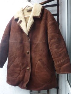 "Ladies Vintage Sheepskin Suede Coat Made in England Urban Mod Genuine XXL 46"" by Shadesofstylelondon on Etsy"