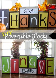 DIY Reversible Holiday Blocks – 100 Days of Homemade Holiday Inspiration – Thanksgiving Decorations – Grandcrafter – DIY Christmas Ideas ♥ Homes Decoration Ideas Fall Crafts, Holiday Crafts, Holiday Fun, Diy Crafts, Diy Holiday Blocks, Christmas Blocks, Adult Crafts, Tree Crafts, Holiday Ideas