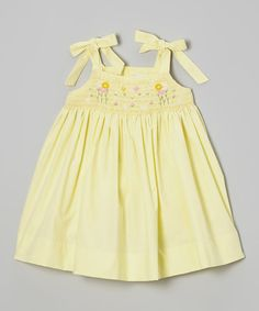 Loving this Yellow Garden Smocked Dress - Infant, Toddler & Girls on #zulily! #zulilyfinds