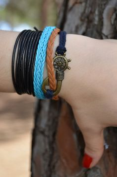 These Rudder & Fishing Needle bracelets are great for everyday wear, as well as for gift giving!This bracelet is perfect as a simple and stylish Fishing, Trending Outfits, Stylish, Simple, Unique Jewelry, Bracelets, Handmade Gifts, How To Wear, Etsy