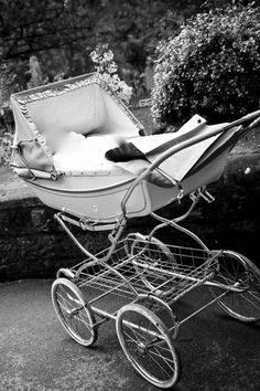 Traditional coach/carriage pram - ivory and silver - Marmet for Mothercare