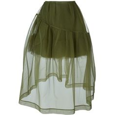 Simone Rocha Petticoat Sheer Trim Detail Skirt (2.815 RON) ❤ liked on Polyvore featuring skirts, green, green skirt, see through skirt, petticoat skirt, sheer skirt and simone rocha