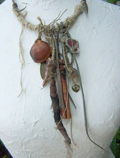 Boele - Artistic Boho Necklace Amulet Talisman Flax Tribal Handmade Beads OOAK Wearable Art Necklace made of hand-cut from a sheet of leather straps, hand-made