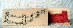 Rustic Fence rubber stamp from oldislandstamps by oldislandstamps.