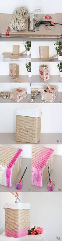 DIY Cardboard Rope Basket - one-o.it - Cesta con cartón y cuerda