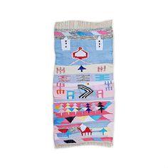 "75""X39"" Handwoven moroccan kilim rug, boucherouite rug, handmade rug, geometric pattern, colorful rug, chic ethnic, moroccan decor"