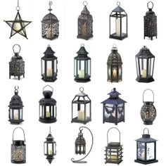 Metal Hanging or Tabletop Candle Lanterns Moroccan Style Candleholders Black Sil | eBay