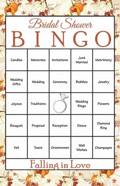 30 Falling in Love Bridal Bingo Cards - Fall Bridal Shower Bingo Game - prefilled, printable, download - Autumn Fall Wedding Theme WD2002 - https://www.etsy.com/listing/477539959/30-falling-in-love-bridal-bingo-cards?ref=shop_home_active_3&utm_campaign=coschedule&utm_source=pinterest&utm_medium=Celebrate%20Life%20Crafts