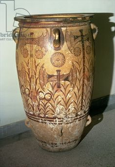 Pithos with decoration of double-headed axes, Minoan, from Knossos, Crete, c.1450-1400 BC (pottery)