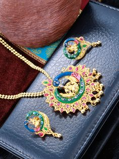 Traditional Peacock Mahalakshmi Pendant Set