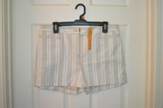 Tory Burch Gavyn Shorts in White (Ivory aberdine stripe)-Brand New with Tags #ToryBurch #CasualShorts