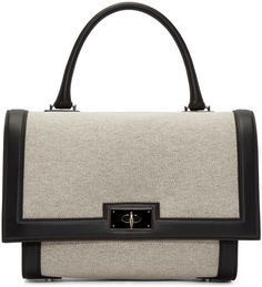 GIVENCHY Beige & Black Small Shark Bag. #givenchy #bags #shoulder bags #hand bags #canvas #suede #lining
