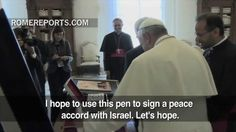 Pope presents pen for signing Palestinian-Israel peace agreement. Pope to visit Israel in May 2014