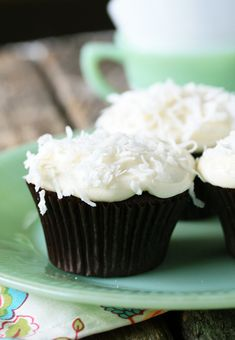 Chocolate cupcakes with cream cheese frosting.