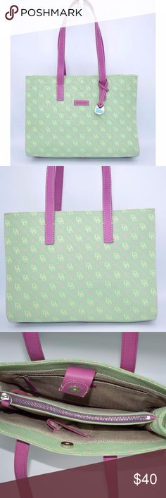 Dooney & Bourke Green East West Shopper Tote Beautiful Large Dooney Tote Bag is in very good condition structural condition, no rips or tears.  Smoke and Odor Free  Measurements: Height: 9.5'' Length: 13'' Depth: 4.5'' Drop: 10.5'' Dooney & Bourke Bags Totes