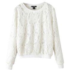 H&M - Lace Blouse - Natural white - Ladies Zerschnittene Shirts, Cut Up Shirts, Button Shirts, Ladies Shirts, White Button Shirt, Laced Up Shirt, Blouse H&m, White Lace Blouse, Lace Sweatshirt