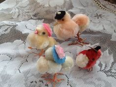 4 Vintage Chenille spun cotton Easter Chick Chicken Peeps Hats