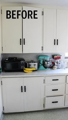 Update Kitchen Cabinets for Cheap Update Kitchen Cabinets for Cheap Megan Taylor twofeetfirst TwoFeetFirst Projects Are you looking for a kitchen makeover on a budget nbsp hellip videos kitchen cabinets Kitchen Cabinets On A Budget, Kitchen Cabinet Styles, Kitchen Cabinet Makeovers, How To Refinish Kitchen Cabinets, Repainted Kitchen Cabinets, Tile Kitchen Countertops, Diy Painting Kitchen Cabinets, Laminate Cabinet Makeover, Colorful Kitchen Cabinets