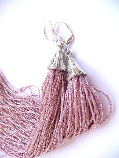 Tassel Earrings Long Tassel Earrings Fringe Earrings pink by MMGEM
