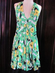Anonymous Clothing Co Green Floral Halter Dress Medium #AnonymousClothingCo #Sundress #Casual