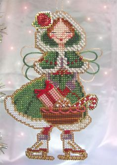 This is for 1 Chart-Only of Brookes Books Stitch-a-Little Spirit of Christmas Present Angel Ornament cross stitch chart by Brooke Nolan Xmas Cross Stitch, Beaded Cross Stitch, Cross Stitch Charts, Cross Stitch Designs, Cross Stitching, Cross Stitch Embroidery, Cross Stitch Patterns, Plastic Canvas Crafts, Christmas Embroidery