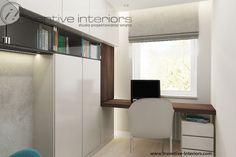 Wąski gabinet, biurko pod oknem. Fot. Inventive Interiors. Decor, Furniture, House Design, Home, Corner Desk, Apartment, Desk