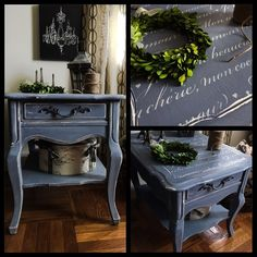 Vintage Stanley French Provincial Side Table/Night Table hand painted in Annie…