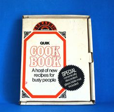 Seraphic Quik Cookbook with Promotional Glass Table Mat - 1970s Vintage Retro Recipes and Hot Plate Holder - Brand New in Box! by FunkyKoala on Etsy