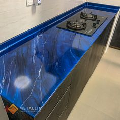 Metallic Epoxy Countertop Design: Silver marble veins with black highlights on Deep blue base Resurface Countertops, Epoxy Countertop, Kitchen Countertops, Black Highlights, Camper Ideas, Deep Blue, Home Remodeling, Yup, Singapore