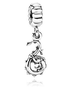 """Pandora Dragon charm.  For my birthday, my husband gave me this charm-he loves dragons and it goes alongside my mermaid charm, with the """"Everlasting Heart"""" charm in the center. We did it to commemorate a sketch he'd made for me when we were dating...of a dragon and a mermaid together."""