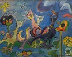 "Картина маслом на холсте. Торик-Хурматова Дилара. Четвёртое сновидение (из серии ""Сновидения"") Cat 2, Painting, Art, Art Background, Painting Art, Kunst, Paintings, Gcse Art"