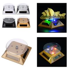 Solar Showcase With LED Lights 360 Turntable Rotating Phone Display Stand For Cell phone/Accseeories